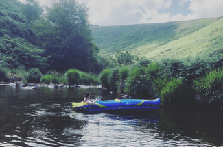 Relaxing in the Kayak at Umberleigh