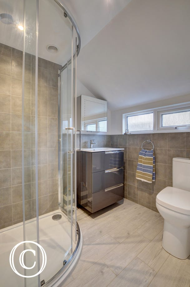 Contemporary bathroom with shower, WC and basin