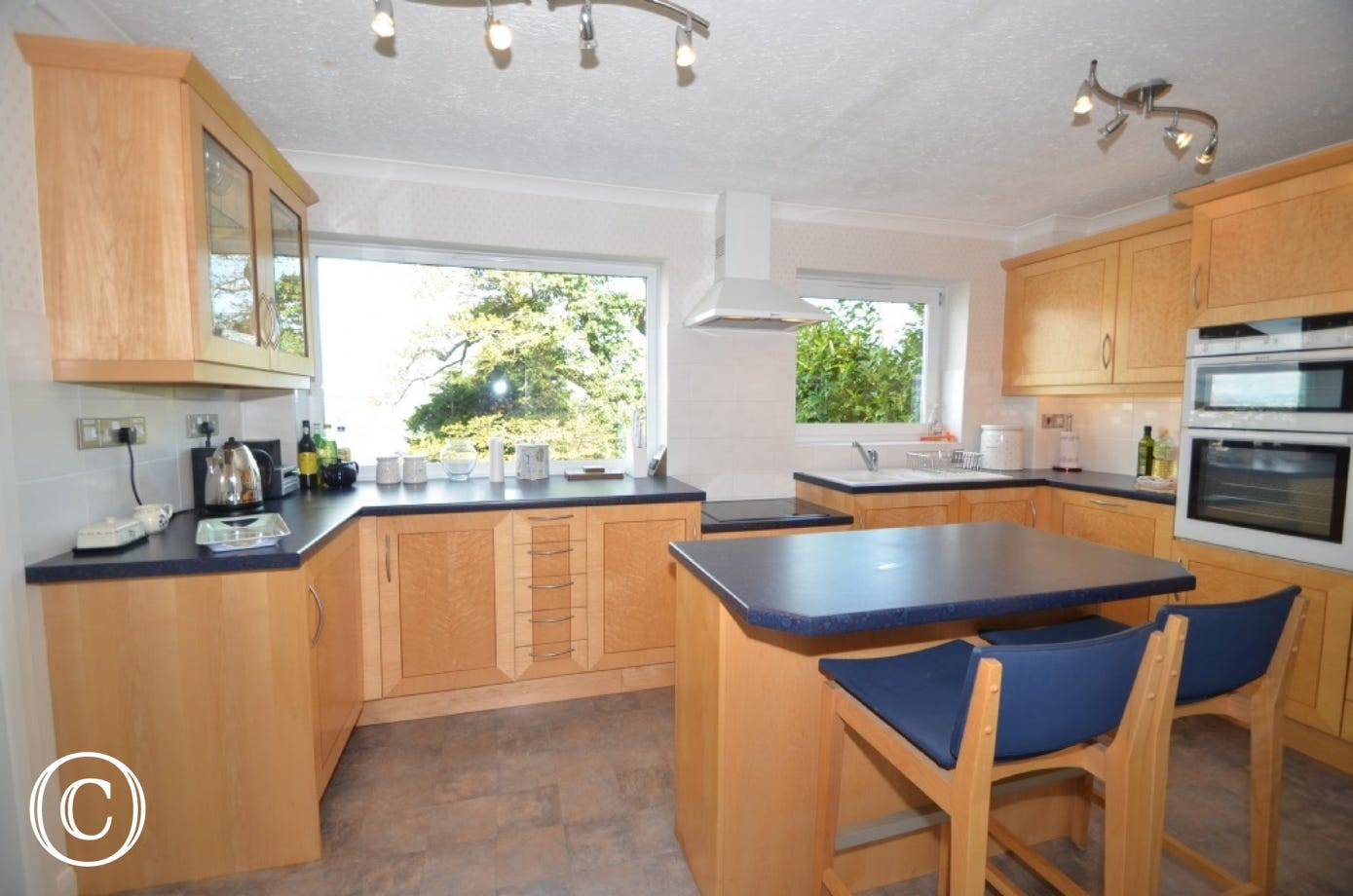 Kitchen with double oven and hob, fridge, freezer, dishwasher, microwave, washer/dryer