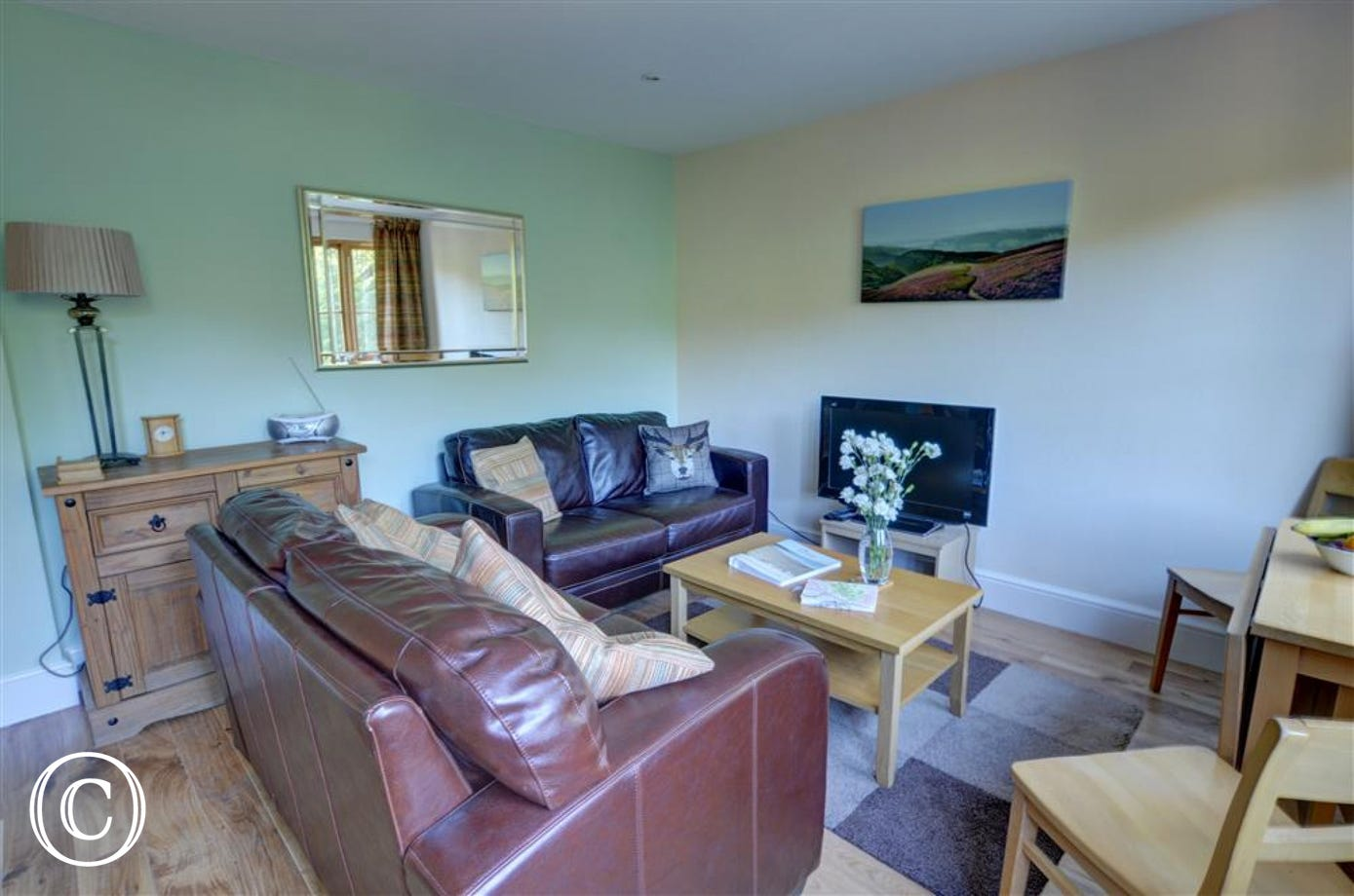 The comfortably furnished open plan living/dining room looks out over the valley