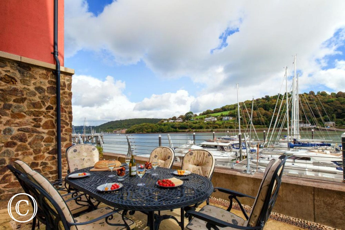 Lovely spacious terrace overlooking the River Dart