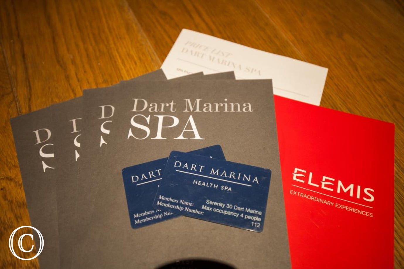 Your complimentary Dart Marina Health Club membership cards in the apartment.