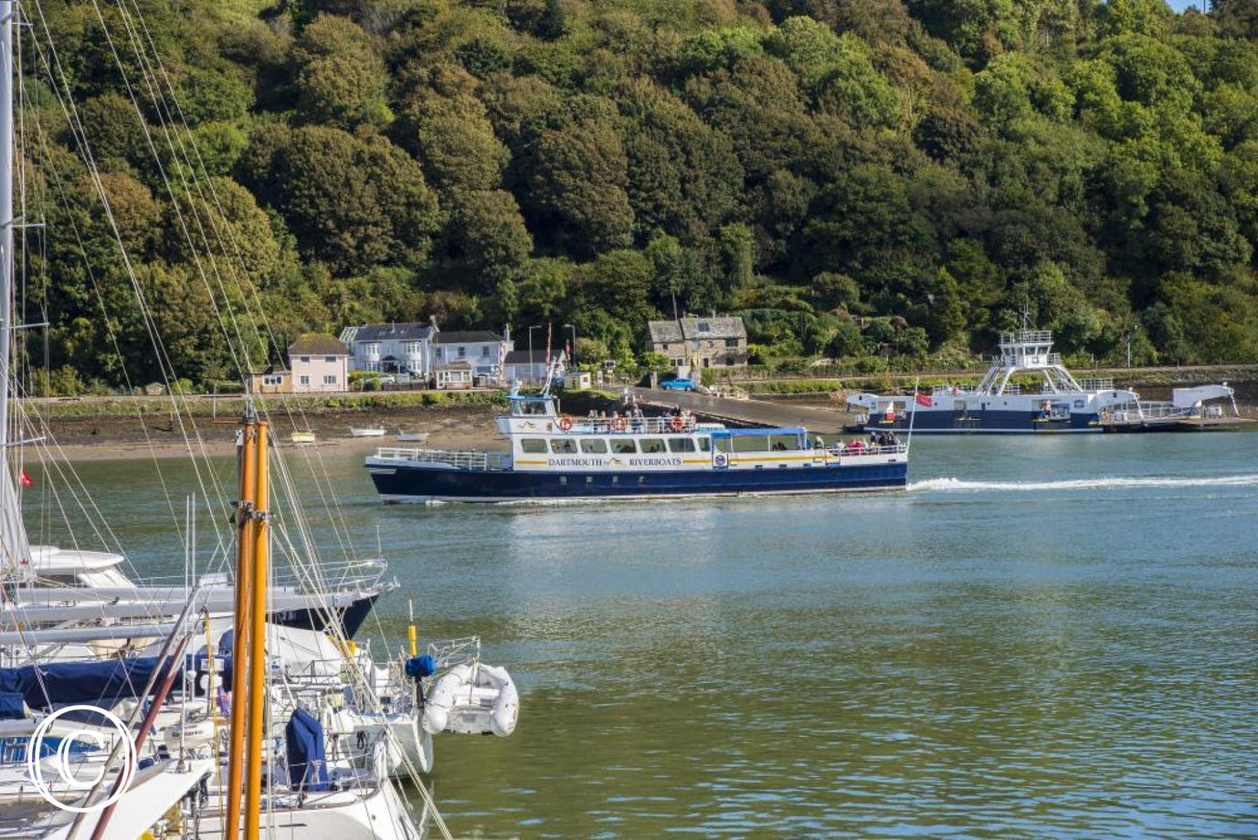 Views of the Lower Ferry and passenger ferry on the River Dart from Serenity's terrace!
