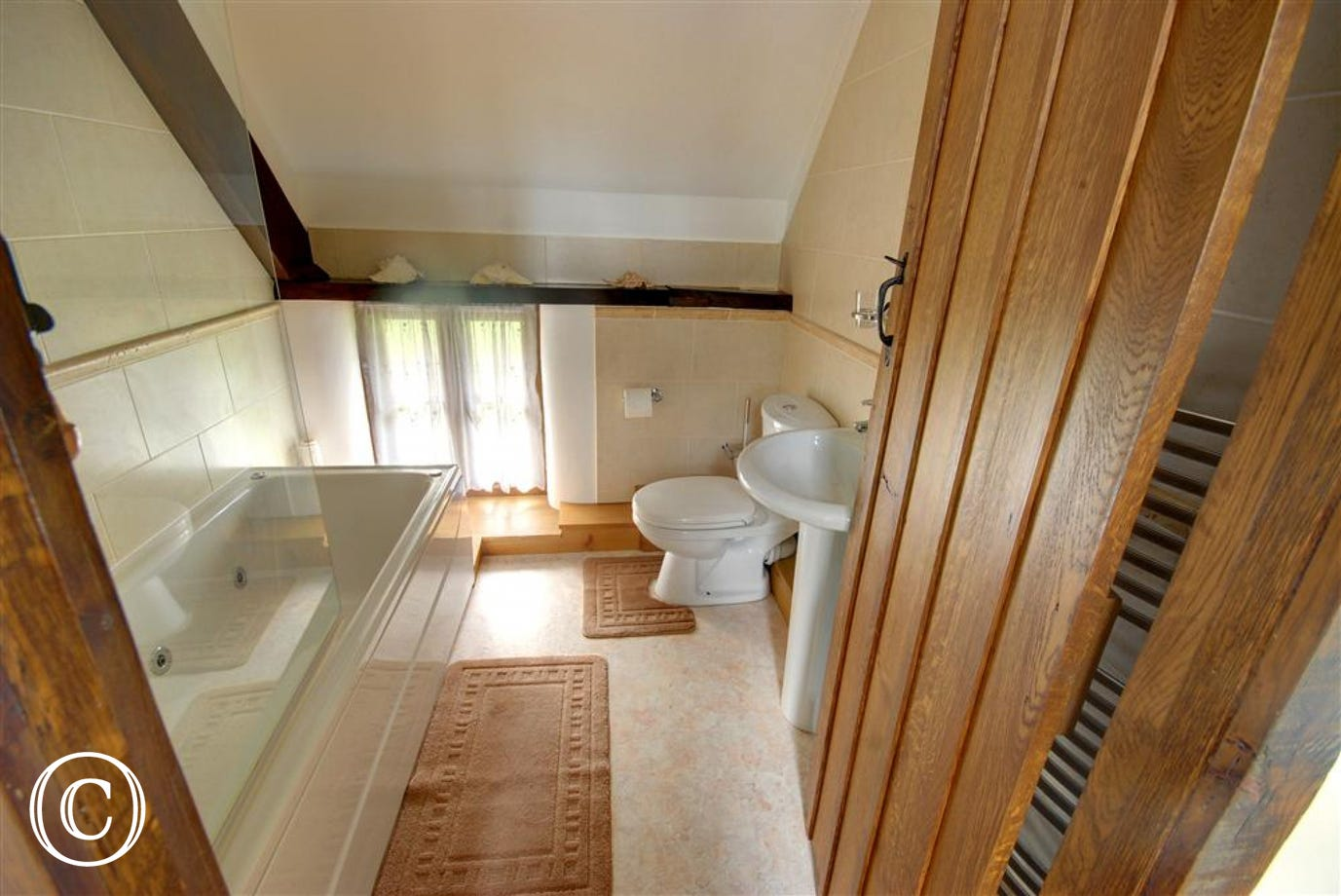 Bathroom with spa bath and fitted shower over bath.