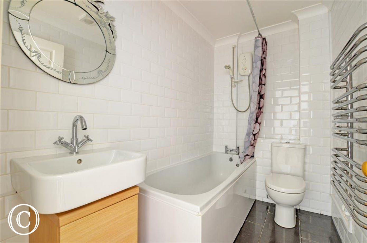 A modern bathroom completes the facilities