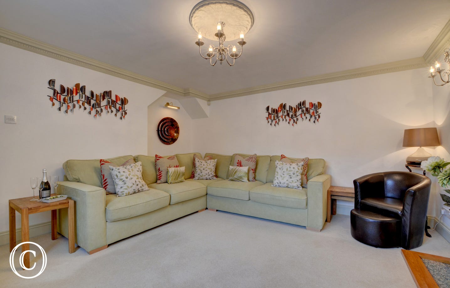 Large corner sofa in the sitting room