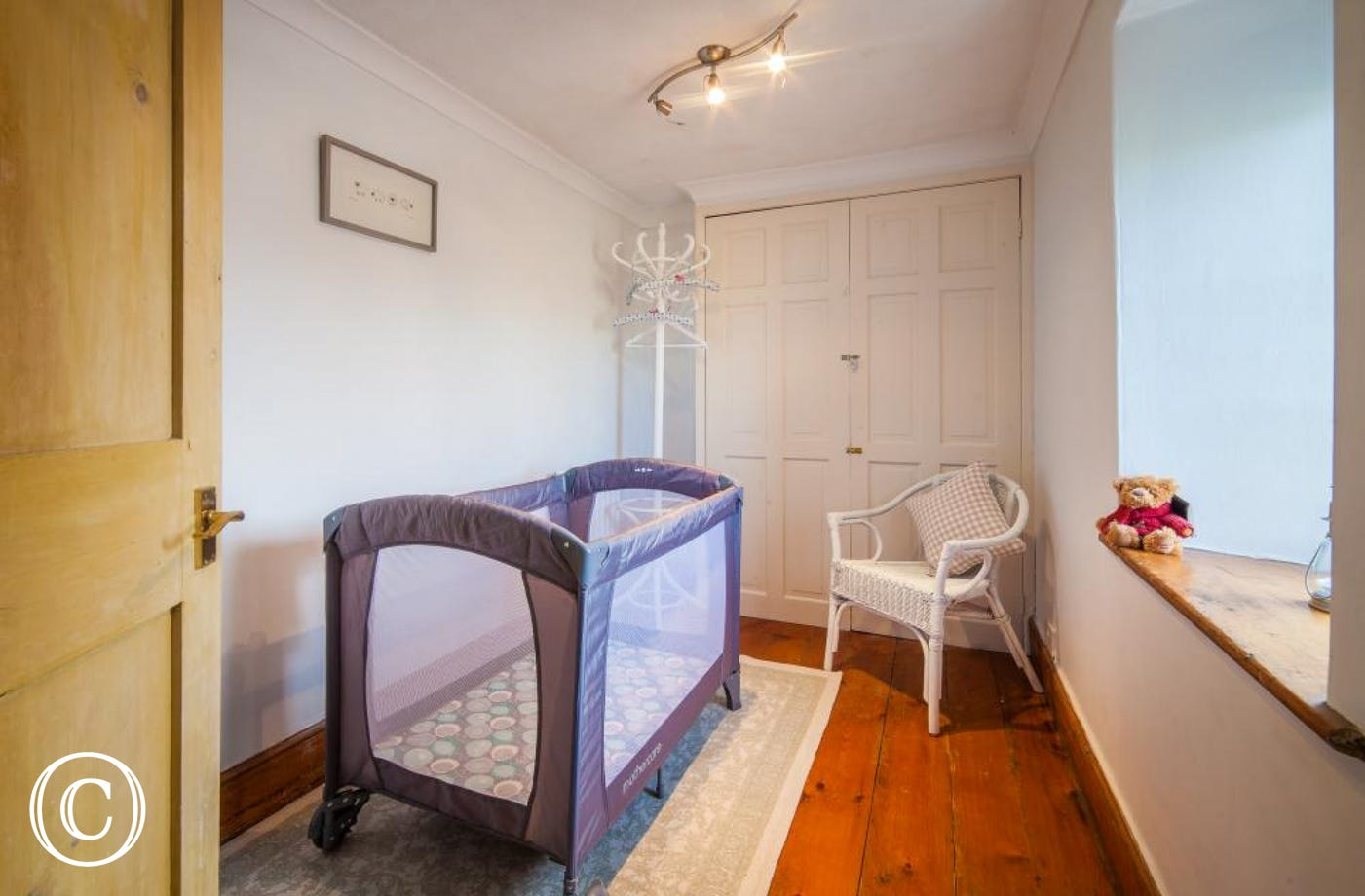 second bedroom for travel cot, perfect for babies. Travel cot and highchair provided