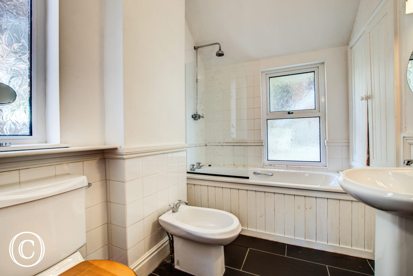 The main family bathroom is on the first floor has WC, bidet, bath, shower over bath and wash basin.