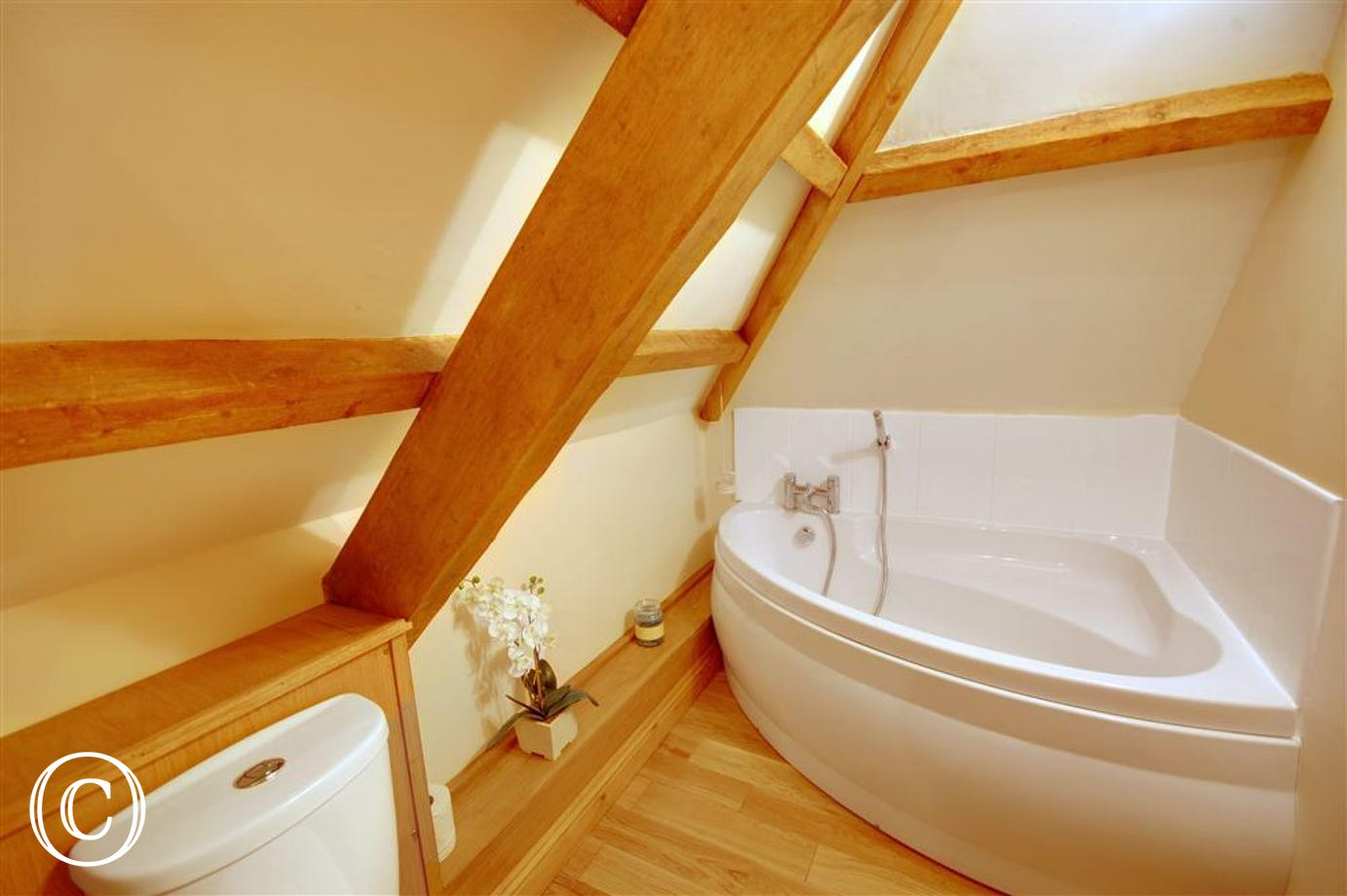 The en-suite has a corner bath and separate walk in shower