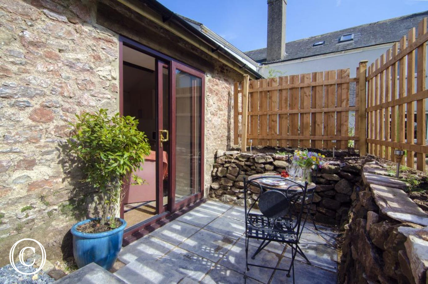 Galmpton Stable sunny patio area