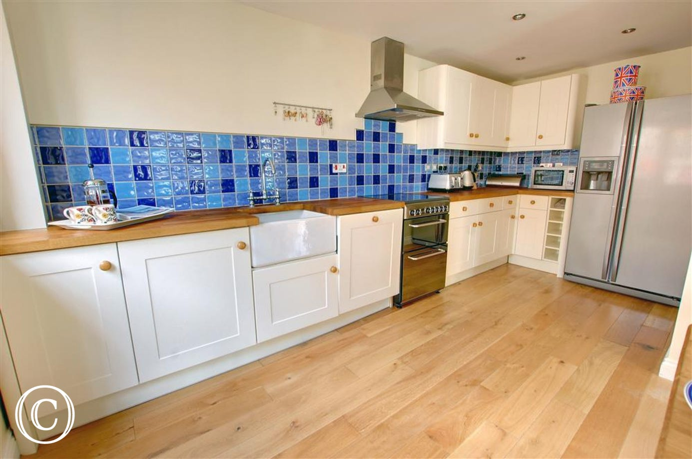 The spacious open plan well equipped kitchen
