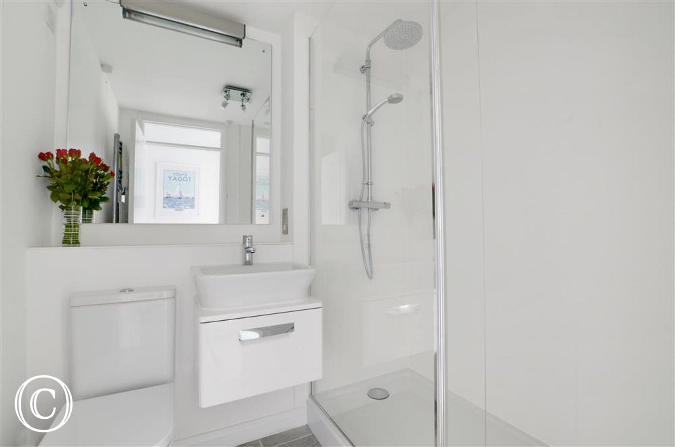 Newly fitted bathroom with walk-in shower