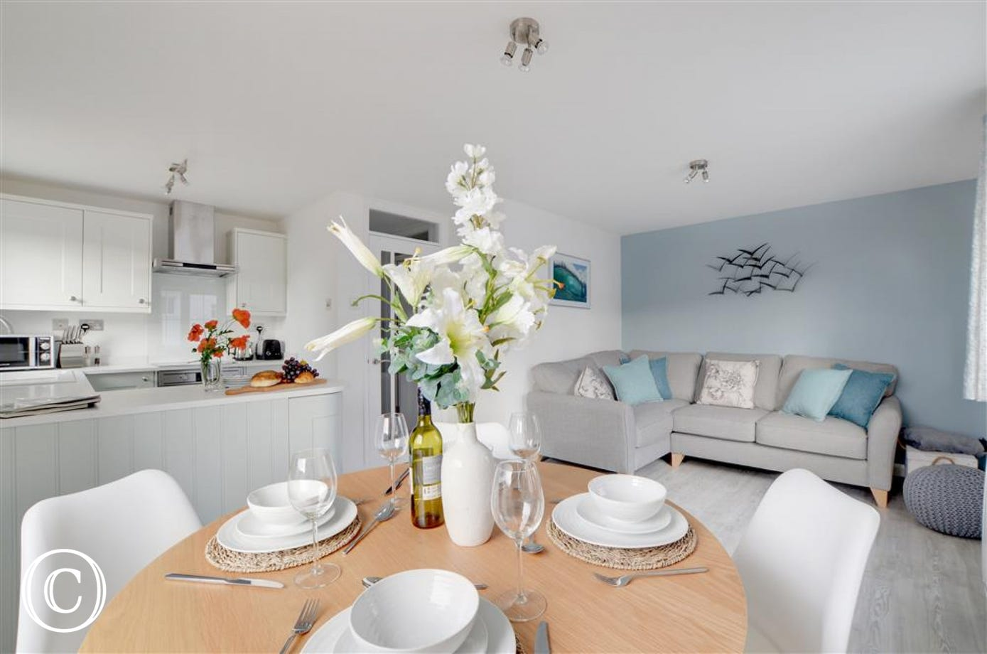 The lovely open plan dining area