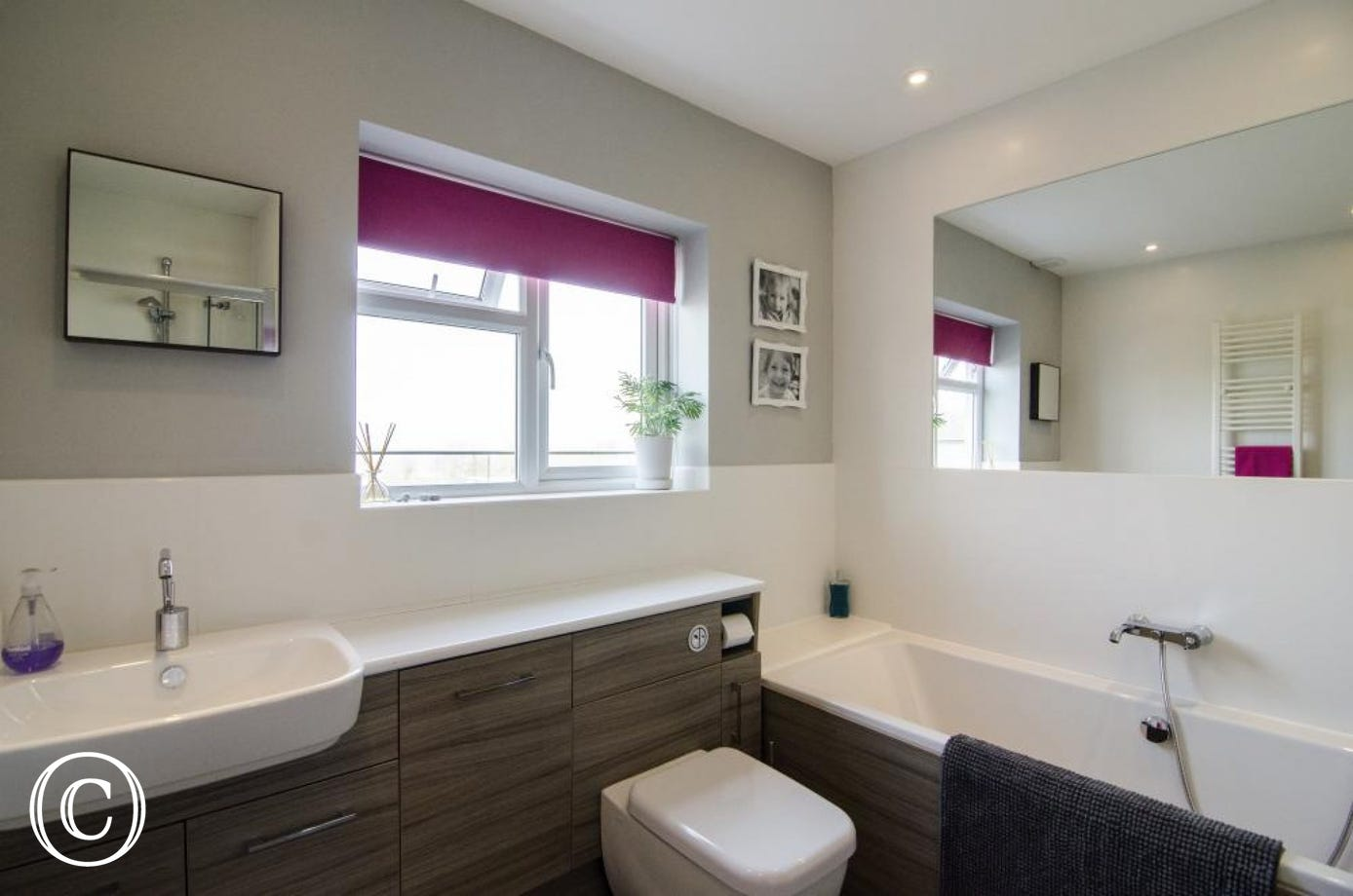 Upstairs family bathroom with separate shower cubicle