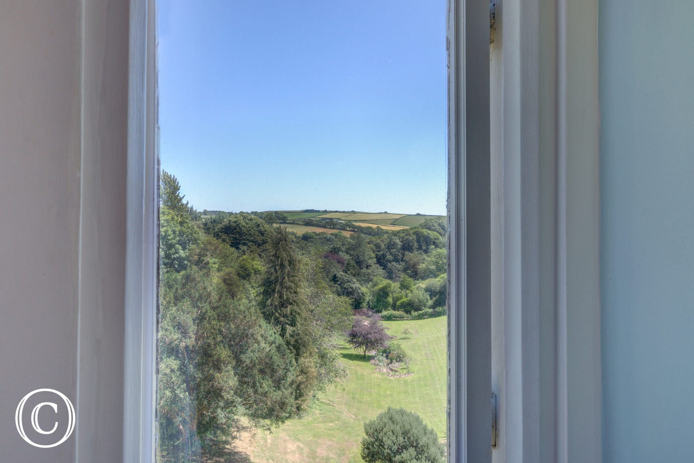 View from the property's window overlooking the South Devon countryside