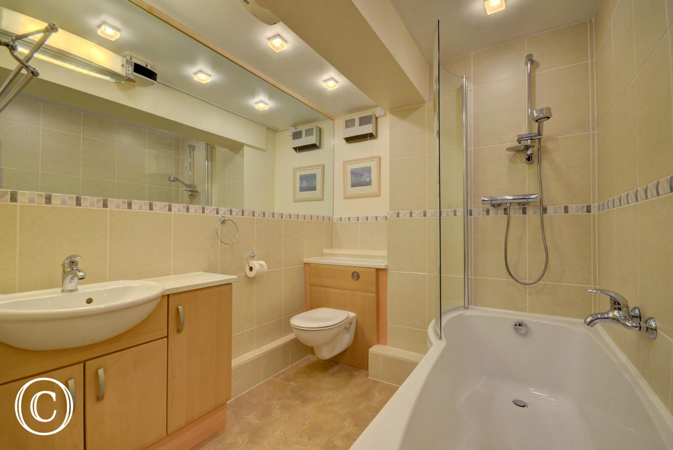 Spacious bathroom with bath and shower over bath