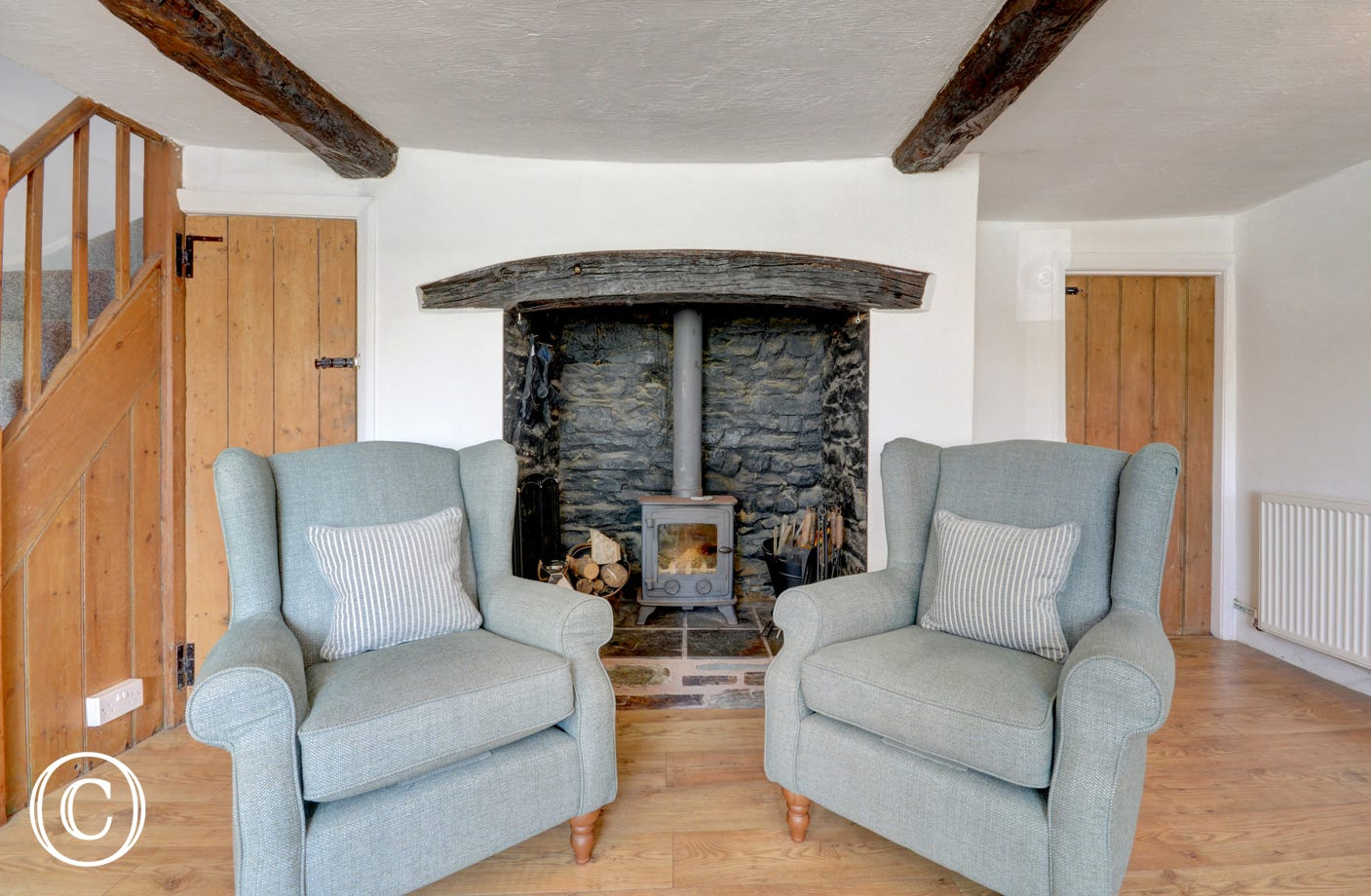 The woodburner will make the cooler evenings warm and cosy