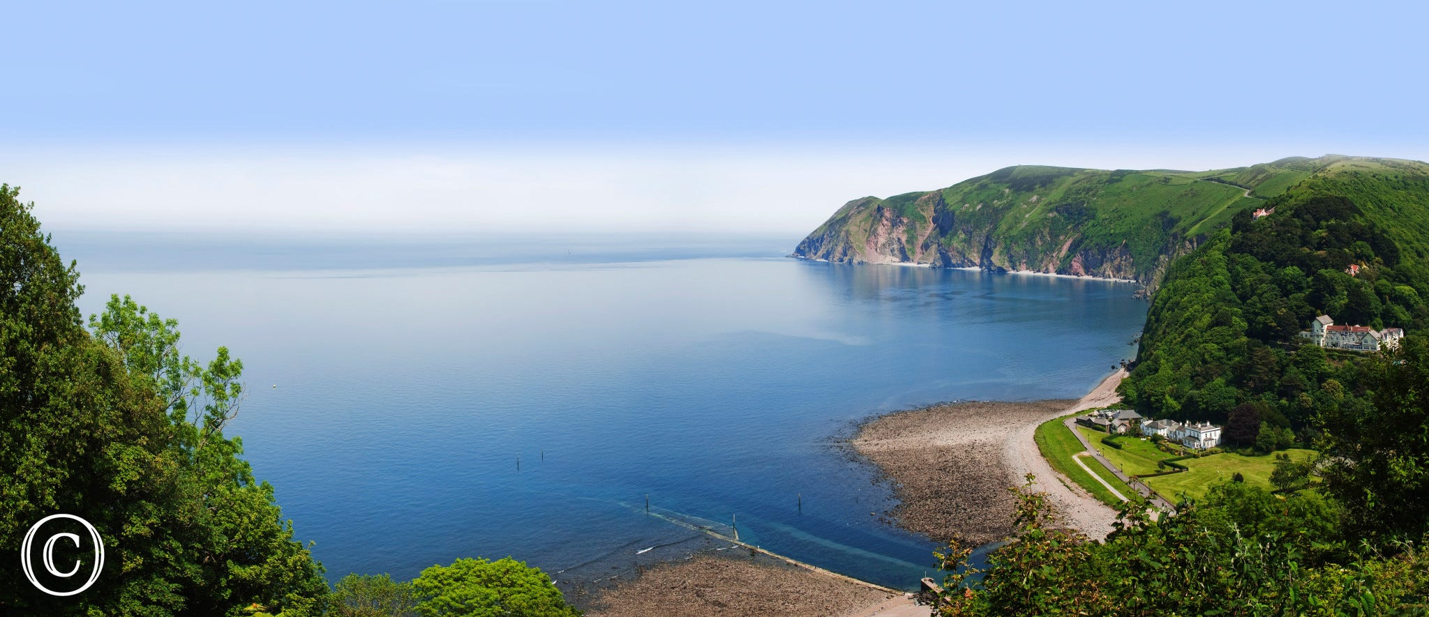 The view of Lynmouth looking towards Countisbury Hill
