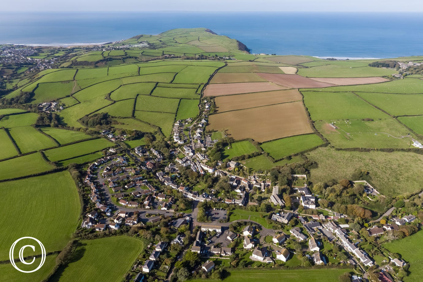 A aerial view of Georgeham village which has 2 very good pubs and a local shop