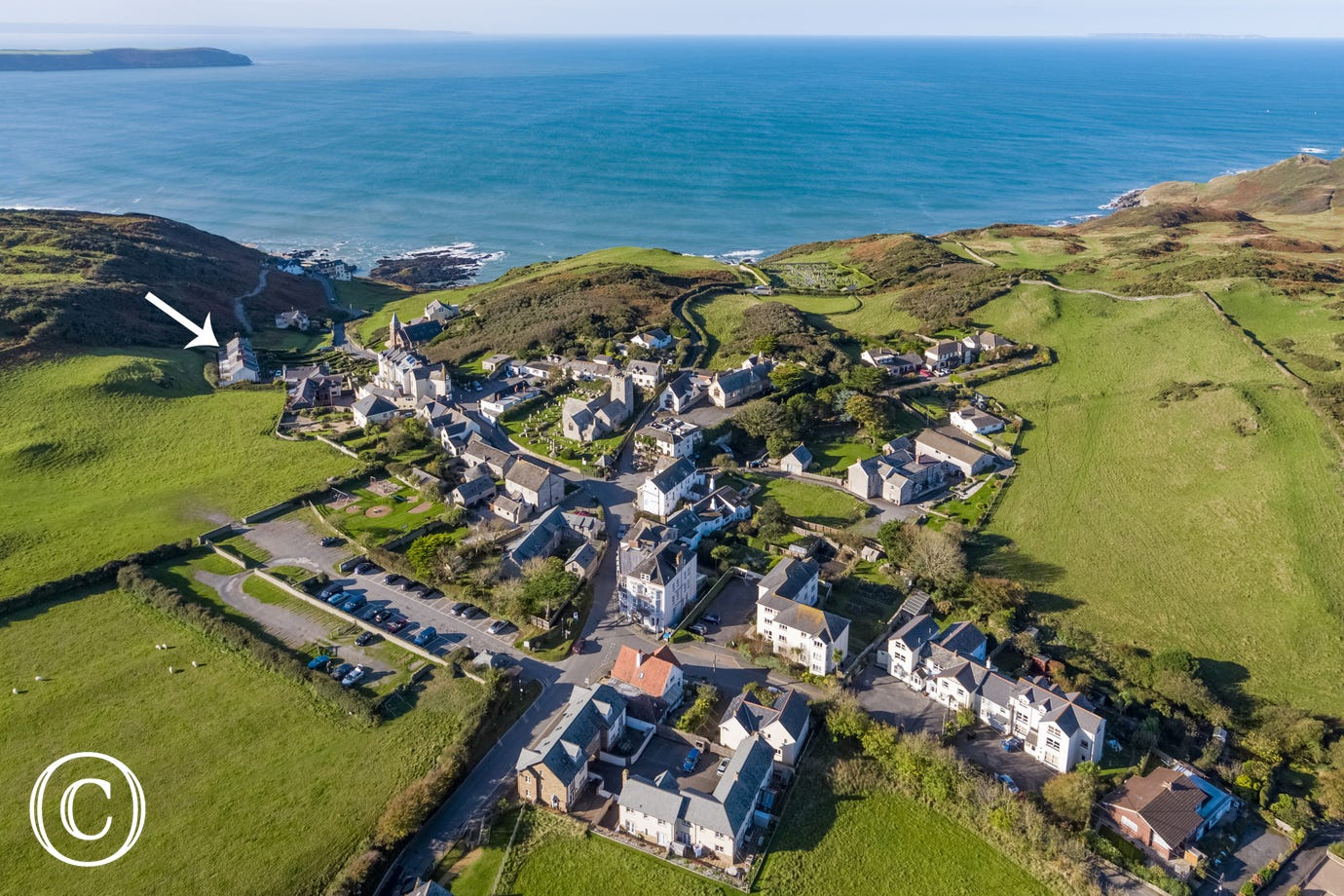 An aerial view of Mortehoe and where Seaview Cottage is located
