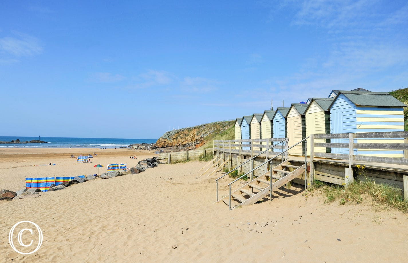 The sandy Summerleaze beach at Bude in Cornwall is just half an hour away by car