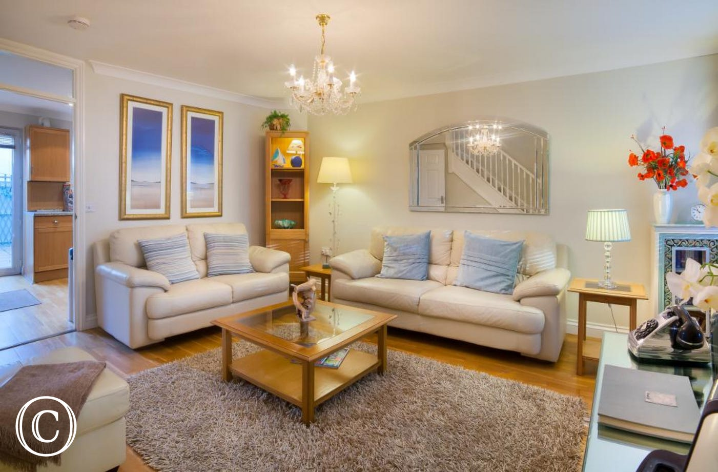 Living Room at Beach Mews Self-Catering Holiday Cottage Torquay in Torbay, South Devon.