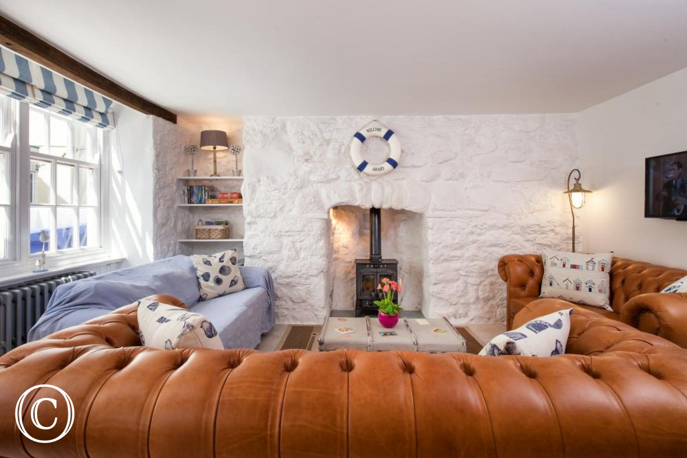 Cosy lounge with wood burning stove, TV & DVD
