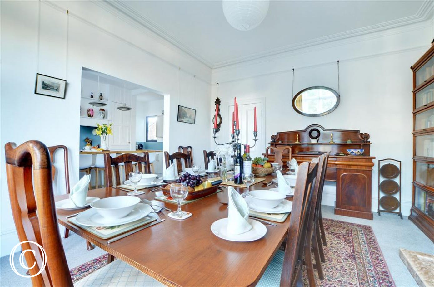 Enjoy fine dining for up to ten guests around the magnificent dining table