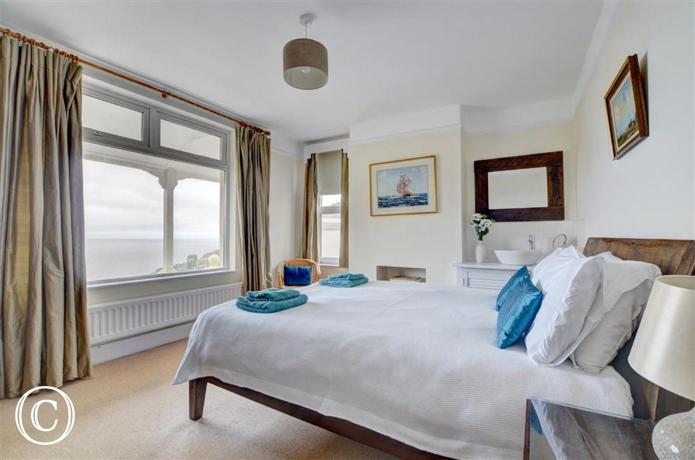 Stunning views from the master bedroom with kingsize bed