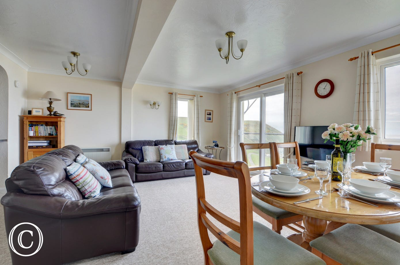 Lovely open plan living area with fantastic views
