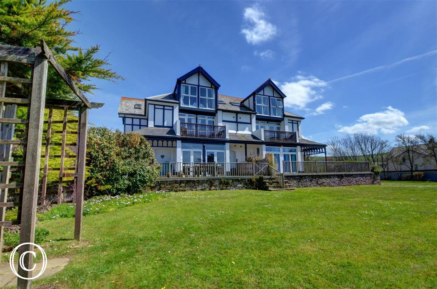 This comfortable apartment is situated on the second floor of an impressive detached property
