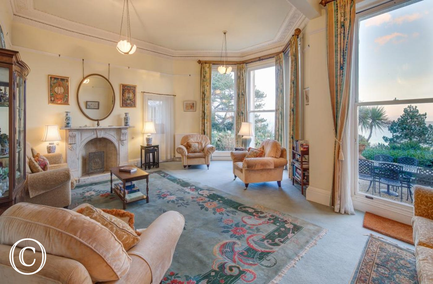 Longcroft House, Torquay - Living room with views across Torbay