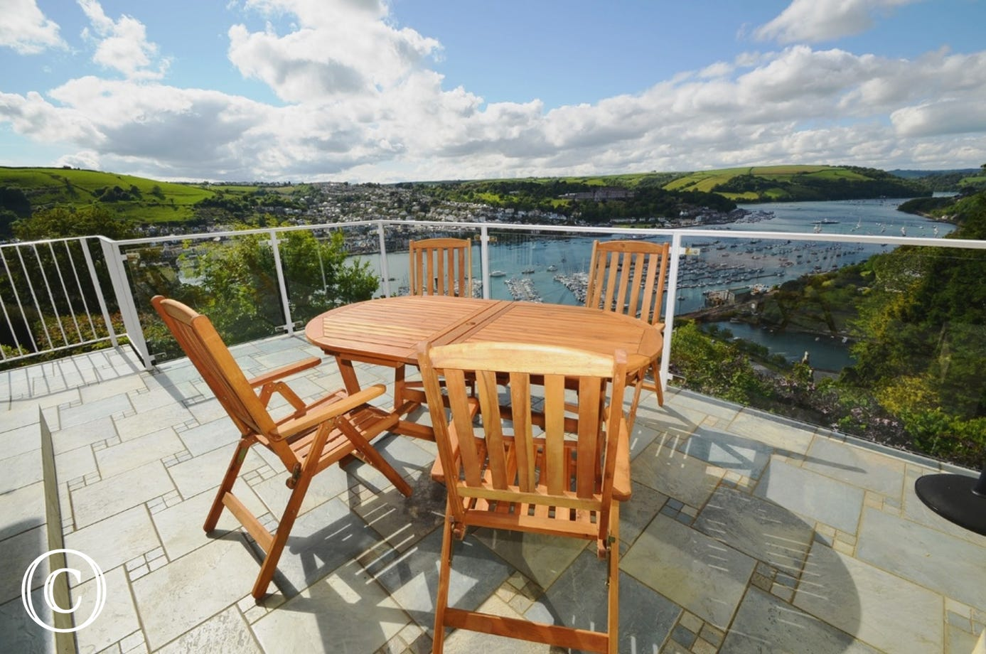 Terrace with barbecue overlooking the River Dart in Kingswear