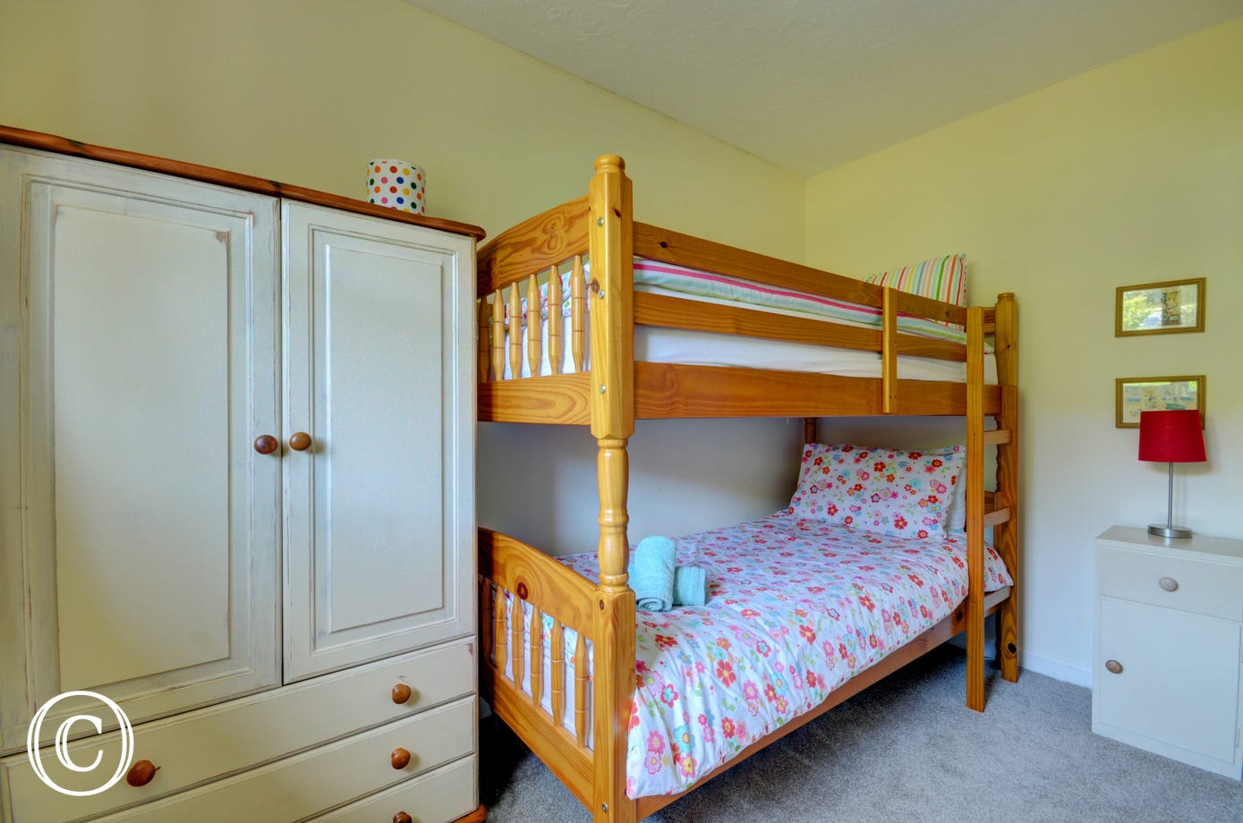 The children will love the bunk bed room!