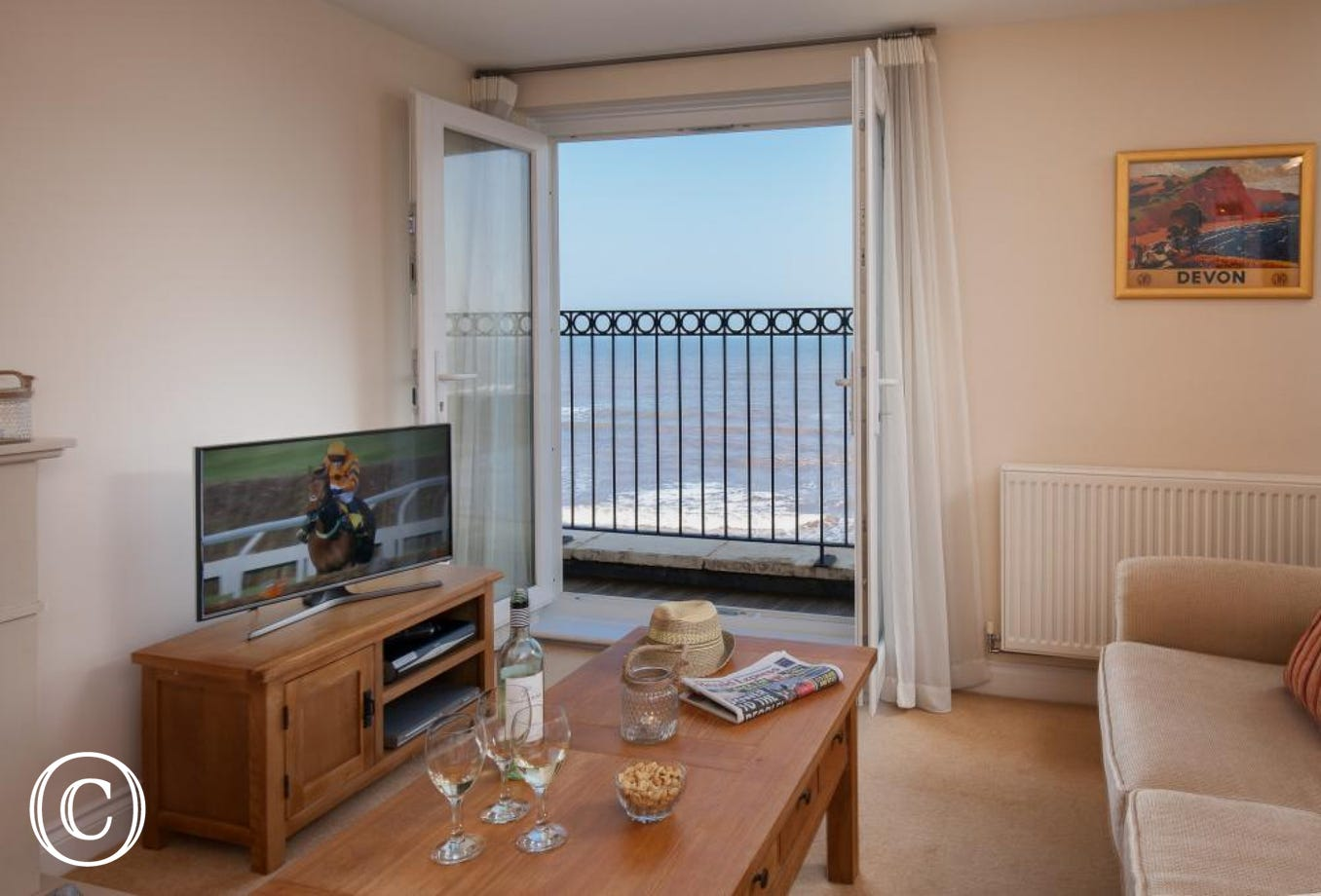 Panoramic Sea Views from this five star Holiday Apartment at 16 Great Cliff in Dawlish, South Devon