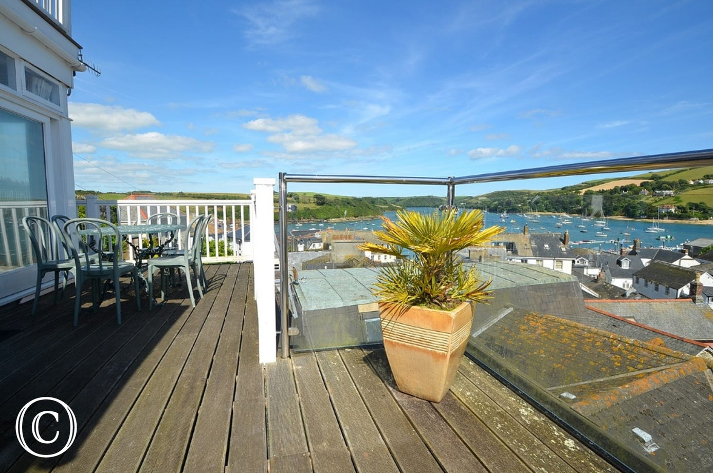 Balcony at 1 Charborough House with views over Salcombe Harbour