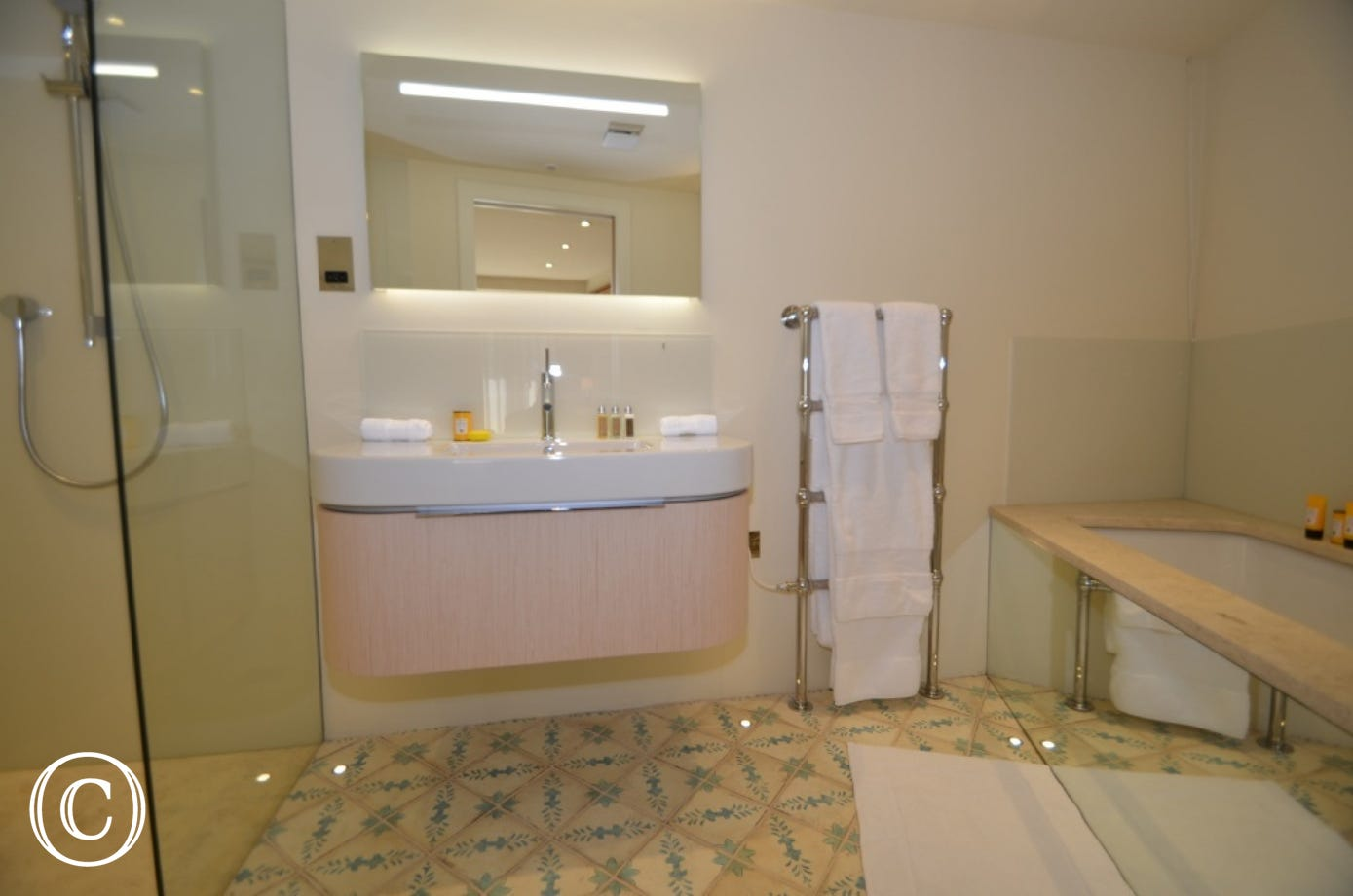 The second luxury en-suite has a large shower , W.C and wash basin, and a  heated towel rail .