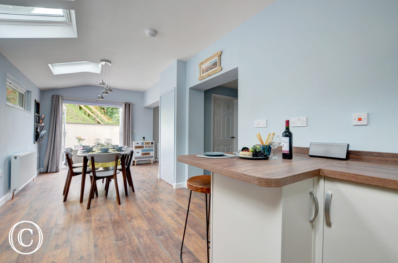 Open plan kitchen with handy breakfast bar