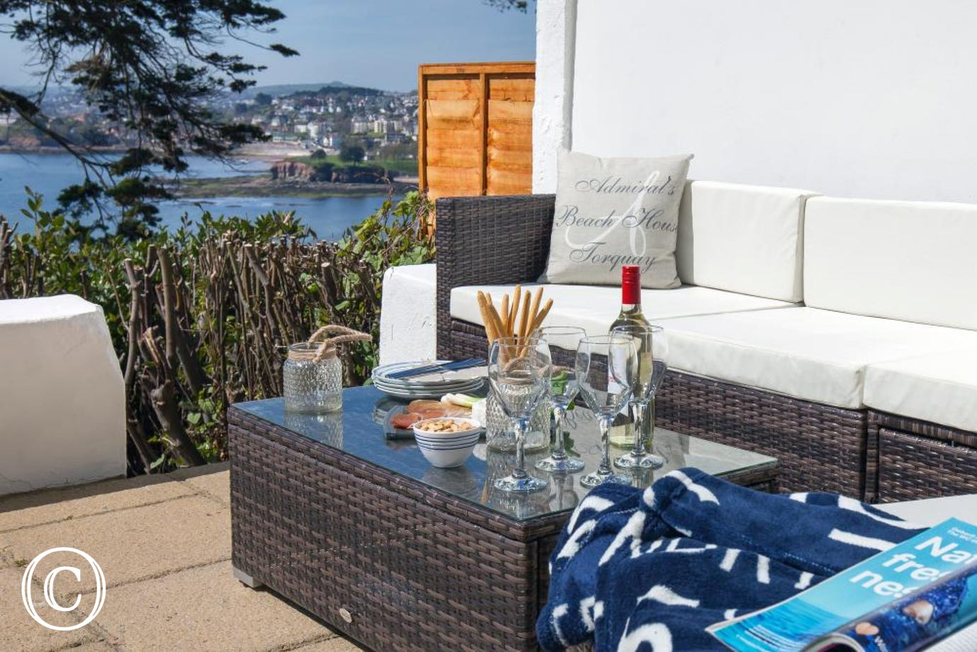The stunning views from the sunny terrace at The Admiral's Beach House Sea View Apartment in Torquay