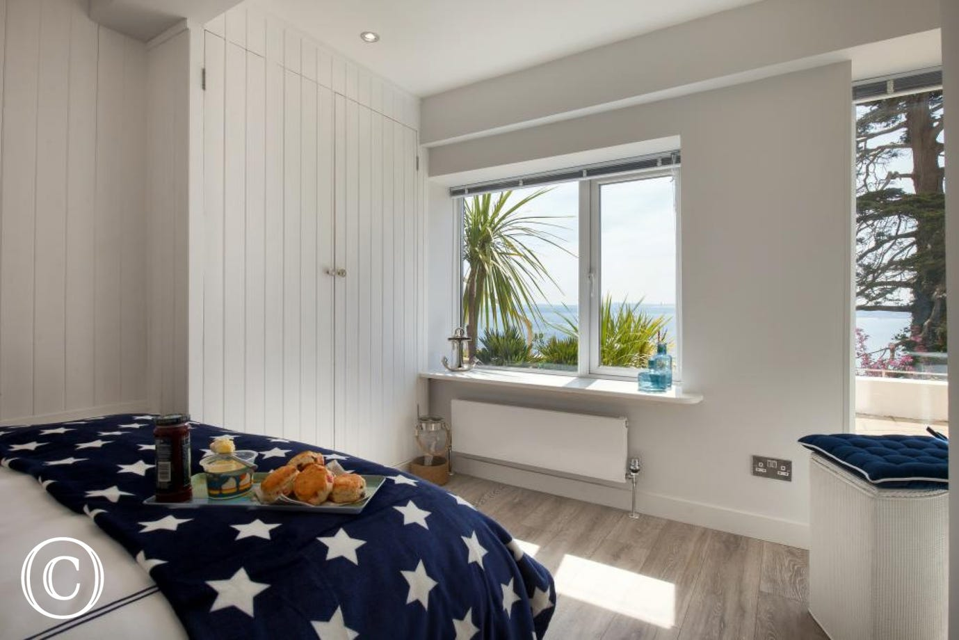 Sea Views from the Bedroom of this Self-Catering Apartment in Torquay, South Devon