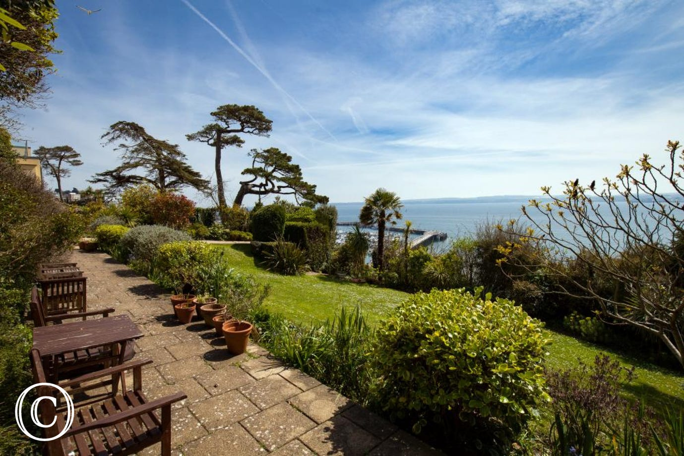 The garden path walk to the terrace entrance of Admiral's Beach House in Bayfort Mansions, Torquay