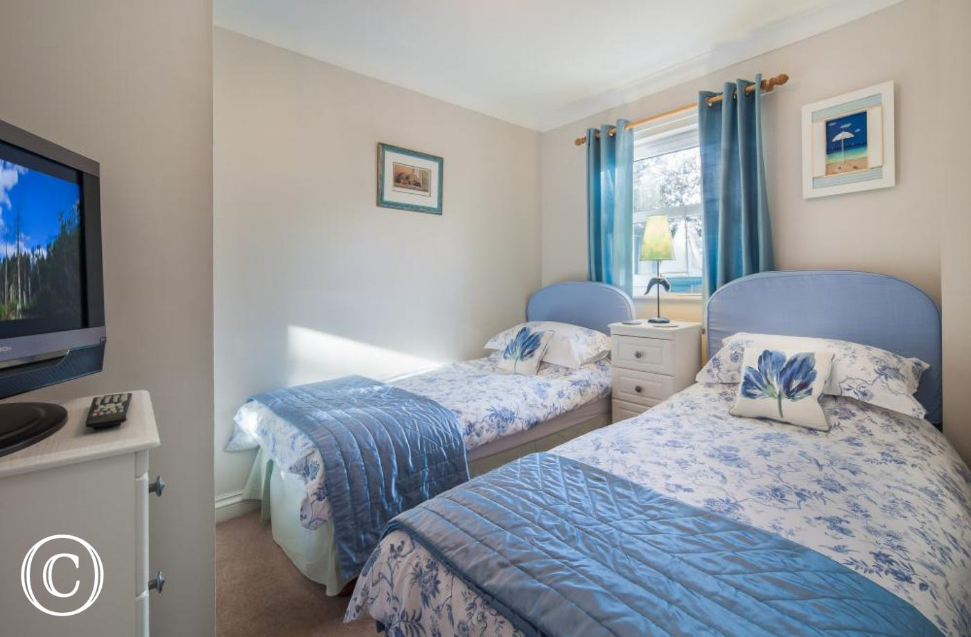 Comfortable Twin Bedroom for Children or Friends, complete with TV. A Perfect Family Beach Holiday in Torquay