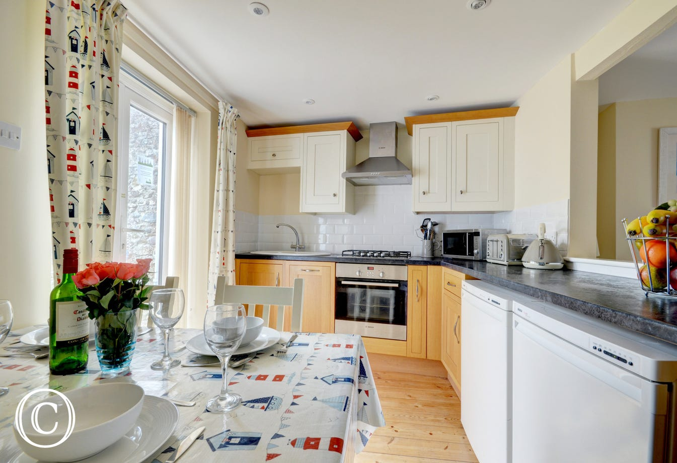 Enjoy breakfast and planning the day ahead in the light and airy kitchen