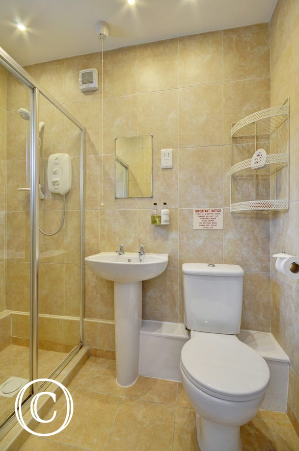 The stylish modern shower room with double width shower cubicle is on the ground floor