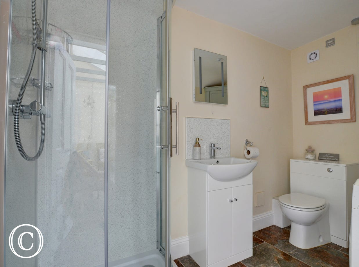 Useful utility room with downstairs cloakroom and shower