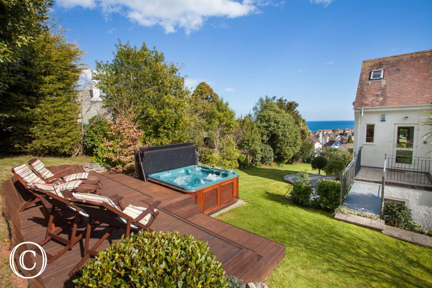 Relaxation Guaranteed Inside and Out at Ben's Place self-catering holiday apartment with private hot tub and sea views in Torquay, Devon