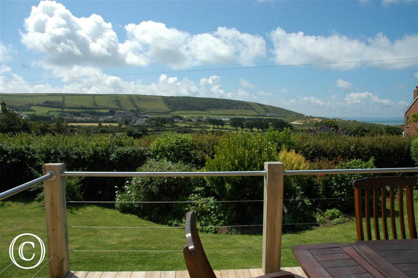 Large decked south facing terrace with uninterrupted views of the countryside