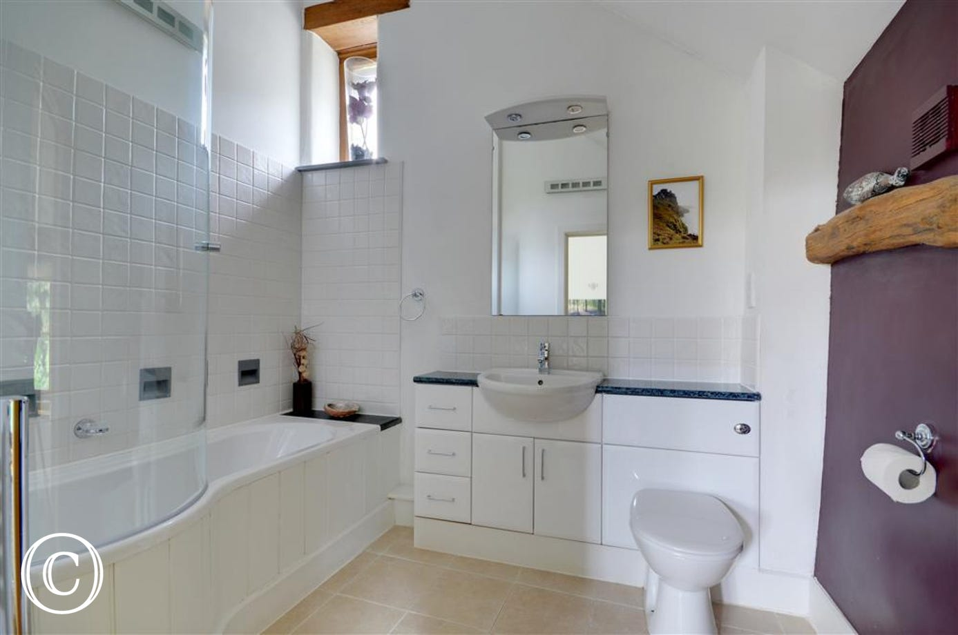 High-ceilinged bathroom with feature wall decor