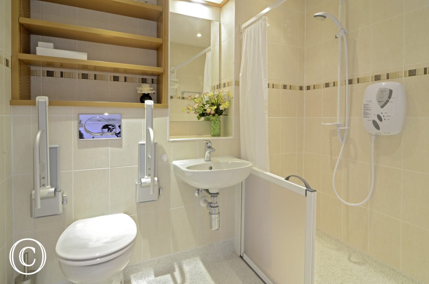 disabled friendly shower room with disabled shower cubicle and toilet