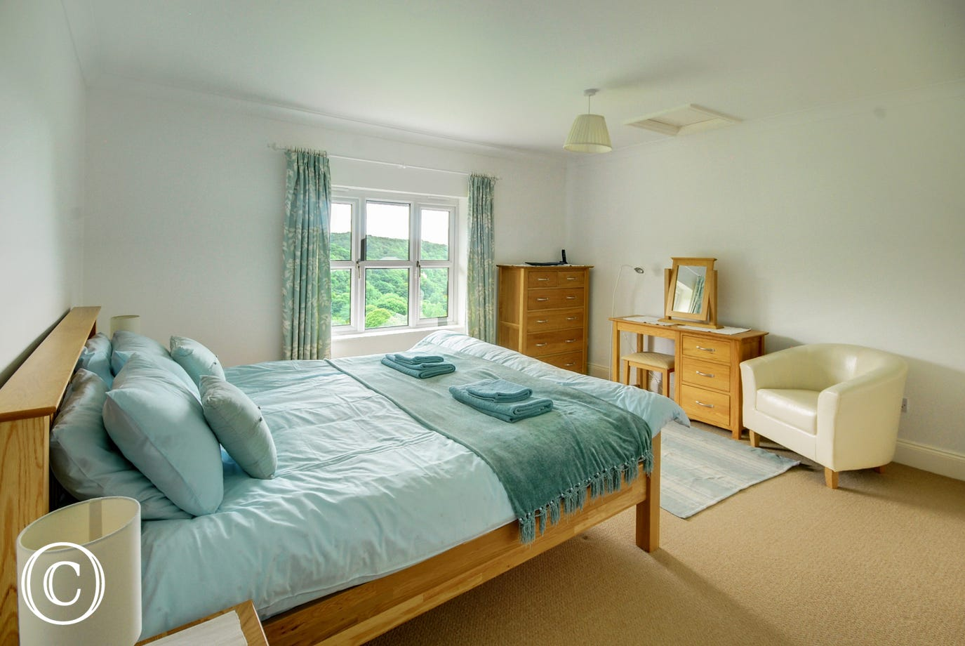 Beautiful decorated spacious bedroom with fabulous views